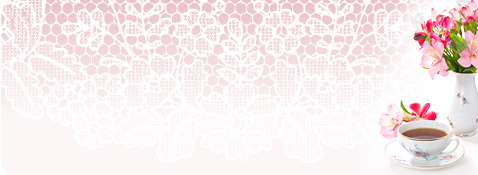 Lacy pink background with flowers and a tea cup