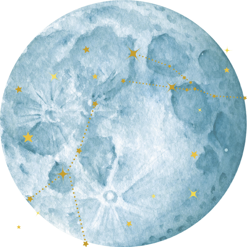 Teal watercolor painting of a moon with gold star illustrations overlaid